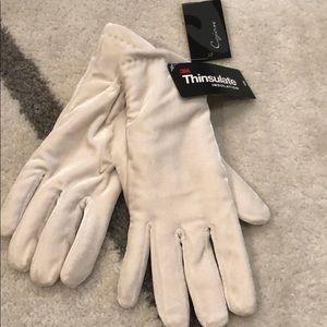 Thinsulate velvet ivory gloves